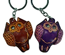 Real Lealther Bag-charm or Key-chain.A Pair of Fat Owl Pattern,Brown and Purple.
