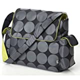 OiOi Charcoal Dot Messenger Baby Changing Bag with Lime Lining and Accessories