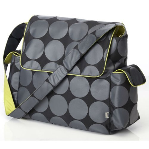 Oioi Charcoal Dot Messenger Baby Changing Bag With Lime Lining And Accessories By Oi-oi