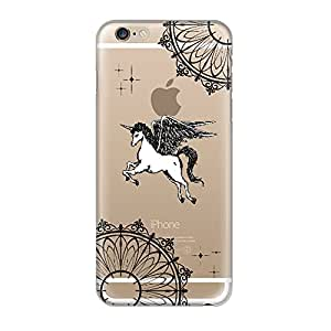 Hamee Designer Case from Japan Thin Fit Crystal Clear Transparent Protective Plastic Hard Cover for iPhone 6 / 6s (Flying Unicorn / Black)