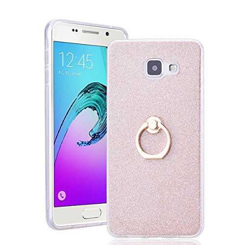 SmartLegend Bling Silicone Coque pour Samsung Galaxy A5 2016 360 Degrés de Rotation Ring Stand Holder Ultra Thin Briller Hull Etui Function Stand