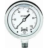 "Winters PFP Series Premium Stainless Steel 304 Single Scale Liquid Filled Pressure Gauge, 0-100 psi, 2-1/2"" Dial Display, +/-1.5% Accuracy, 1/4"" NPT Bottom Mount"