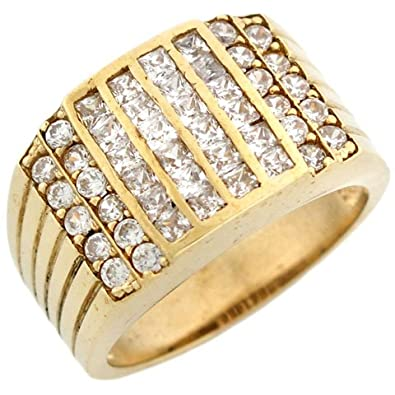 9ct Gold CZ Channel Set Cluster Hip Hop Bling Mens Ring