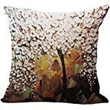 Baosity Three-dimensional Oil Painting Tree Flower Cushion Cover Pillow Case #1