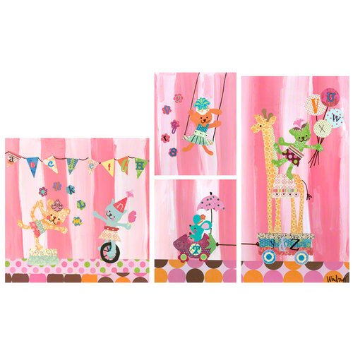 Oopsy Daisy Cotton Candy Alphabet Circus Set Canvas Wall Art, Pink