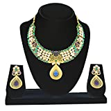 Kanish Delightful Peacock Design Studded Austrain White & Green Pota Stone Necklace Set
