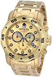 Invicta Mens 0074 Pro Diver Chronograph 18k Gold Plated Stainless Steel Watch