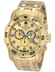 Invicta Watches, Men's Pro Diver Chronograph Gold Dial 18k Gold Plated Stainless Steel, Model 0074
