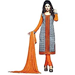 Stylowoman Un-stitched Cotton Cambric Dress Material Free Size Orange