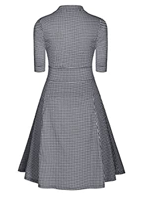 Miusol® Women Casual Stand-Up Collar Vintage Houndstooth-Print Slim Summer Dress