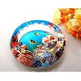 クリスタル風 ガラス製 灰皿 アンダーウォーターワールド (スカイブルー 第2世代, 20cm)
