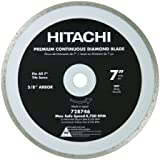 Hitachi 728746 7-Inch Wet and Dry Cut Continuous Rim Diamond Saw Blade for Tile and Stone