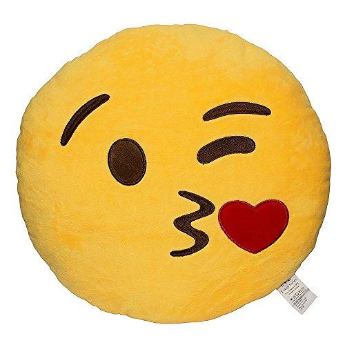 EvZ® 32cm Emoji Smiley Emoticon Yellow Round Cushion Pillow Stuffed Plush Soft Toy