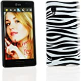 Kit Me Out DE TPU-Gel-Hülle für LG Optimus L9 P760 - Schwarz, Weiß Zebrastreifen