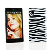 Kit Me Out UK IMD TPU Gel Case + Screen Protector with MicroFibre Cleaning Cloth for LG Optimus L9 P760 - Black / White Zebra
