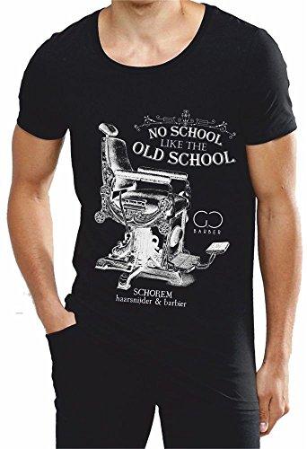 T-shirt cotone fiammato Scollo ampio a taglio vivo - THE BARBER - NO SCHOOL LIKE THE OLD SCHOOL (L, NERO)