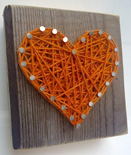 Rustic orange string art wooden heart block - A unique gift for a new Baby, Wedding, Anniversary, Birthday, Valentine's Day, and Christmas gift.