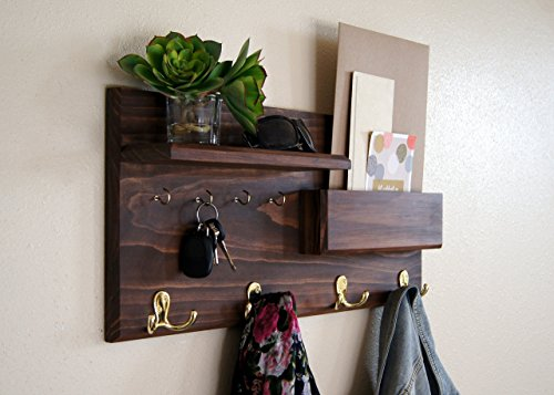 Entryway Coat Rack Mail Storage and Key Hooks Custom Handmade (2015 Custom Wall Calendar compare prices)