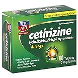 Rite Aid Pharmacy Cetirizine Hydrochloride, Original Prescription Strength, 10 mg, Tablets, 60 tablets