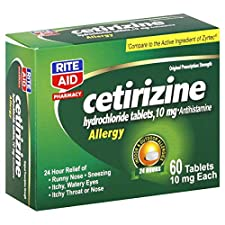 Rite Aid Pharmacy Cetirizine Hydrochloride, Original Prescription Strength, 10 mg, Tablets, 60 tablets