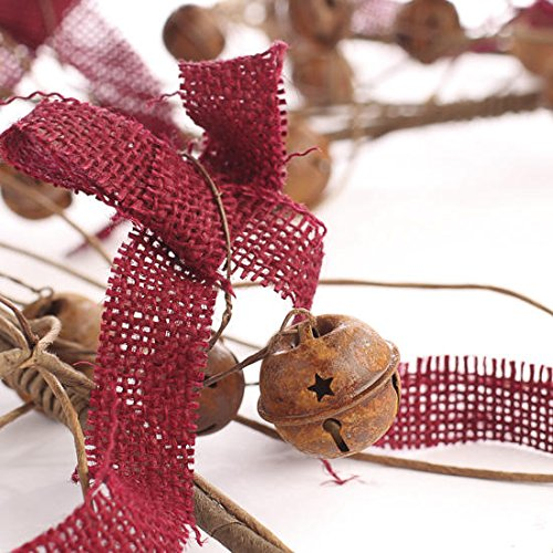 Decorative Burlap, Bell and Twig Garland for Decorating, Designing and Home Decor