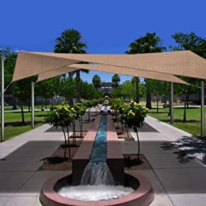 Phoenix 115 Square Sun Shade Sail Complete Home Kit Desert Sand Color by Phoenix Shade Sails