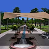 Phoenix 18.5' Square Sun Shade Sail Complete Home Kit Desert Sand Color