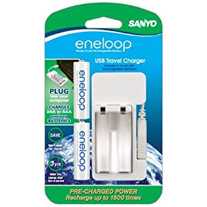 SANYO NEW 1500 eneloop 2-AA Ni-MH Pre-Charged Rechargeable Batteries w/ USB Charger