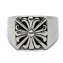 buy Mens Stainless Steel Finger Rings Band Retro Cross Pattern 15Mm Size 9 - Adisaer Jewelry