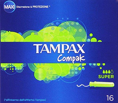 Tampax - Compak, Tamponi con applicatore, Maxi, Super - 16 pezzi