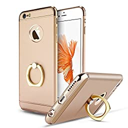 iPhone 6 Case,Inspirationc® Ultra-thin 3 in 1 Plastic Hard Skin 360 Degree Rotating Ring Kickstand for Apple iPhone 6/6S 4.7 Inch--Gold