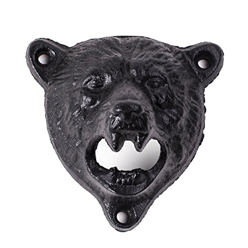 1pc Black Cast Iron Beer Opener Wall Mounted Beer Opener Durable Cute Bear Design Opener (Broncos Wall Mount Bottle Opener compare prices)