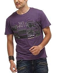 Chlorophile Men's Round Neck Cotton T-Shirt (Vin_Ink_Large)