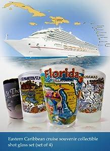 Eastern Caribbean Cruise Shot Glass Set #1 (Florida, St.Thomas, St.Martin, Bahamas)