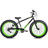 Men's Extreme Off Road All- Terrain 26 Inch Fat Tire Bike 7 Speed for Cruising, Camping, Mountains, Sand, Mud, Snow - BMX Handlebars - Green/black