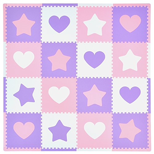 Cheap Tadpoles 16 Sq Ft Hearts and Stars Playmat Set, Pink/Purple/White
