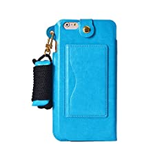 buy Hyait Iphone 6 Multifunctional Feature Case With Neck Lanyard,Headphone Manage And Credit Card Slots,Pattern Wallet Packet Fashion Pu Leather Flip Phone Cover Case As Temporary Support For Iphone 6 4.7 Inch(Verizon, At&T, Sprint, T-Mobile, International,