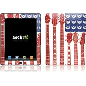 Patriotic  Red White and Blue American Flag Guitar design iPad vinyl skin decal at amazon