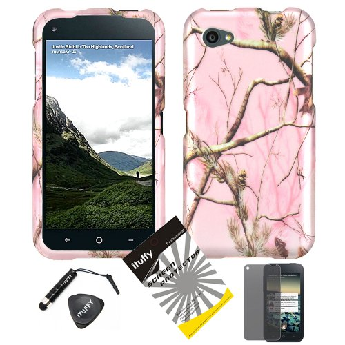 4 items Combo: ITUFFY LCD Screen Protector Film + Mini Stylus Pen + Case Opener + Silver Pink Pine Tree Leaves Camouflage Outdoor Wildlife Design Rubberized Snap on Hard Shell Cover Faceplate Skin Phone Case for HTC M4 / AT&T HTC First / Facebook Phone