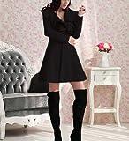 Femme Froufrou Trech Coat Laie Slim Long Section Veste Manteau Noir Taille 44