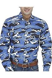 Unixx Men's Casual Shirt (UN64_Blue_44)
