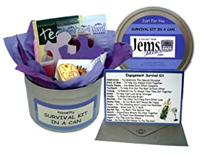 Engagement Survival Kit In A Can. Humorous Novelty Fun Gift - Couple Congratulations Present & Card All In One. Customise Your Can Colour.(Purple/Lilac)