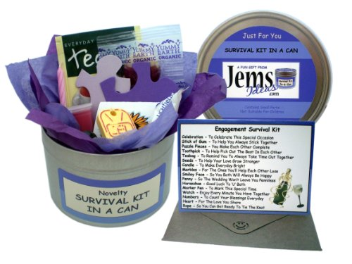 Engagement Survival Kit In A Can. Humorous Novelty Fun Gift - Congratulations Present & Card All In One. Customise Your Can Colour.