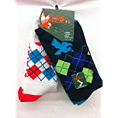 Flow Society Authentic Lacrosse Gear Socks Argyle Crew Black with Turquoise/Purple/Lime and White with Orange/Turquoise. (This is a pack of 2 pairs of socks.) Size Large Fits Shoe 9-12.5