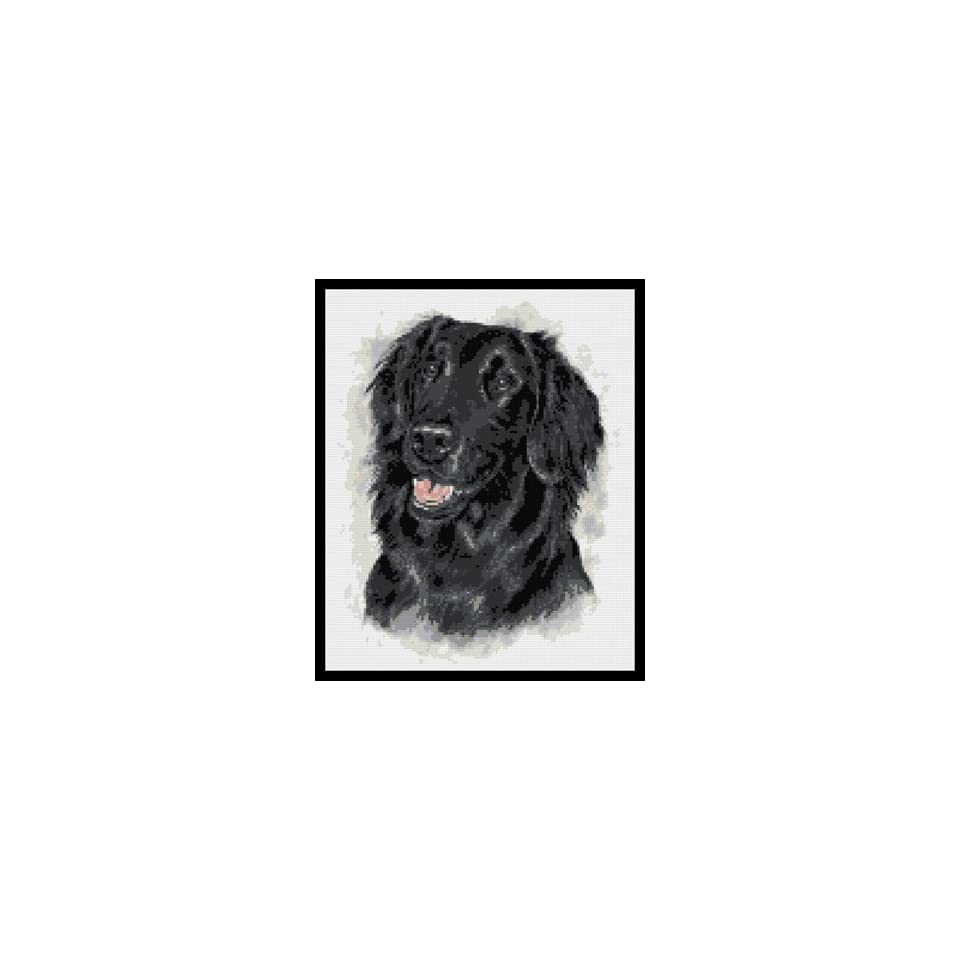 Flat Coated Black Retriever Dog Counted Cross Stitch Kit