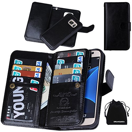 DRUnKQUEEn S7 Case, Premium Leather Credit Card Holder Feature Wallet Type Flip Folio Case - Detachable Magnetic Back Cover with Lanyard Wrist Hand Strap for G930 Samsung Galaxy S7 - Black (Cell Phone Accessories Cases compare prices)