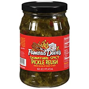 Famous Daves Signature Spicy Pickle Relish 16oz Glass Jar Pack Of 3
