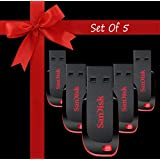 Standard Sandisk Cruzer Blade CZ50 USB Flash Drive Pack Of 5 32GB USB 2.0 Pendrive