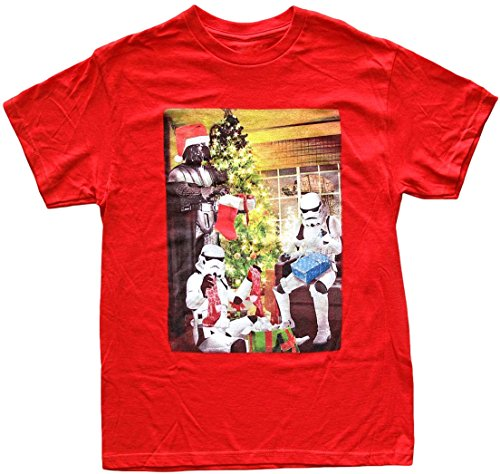 Star Wars Men's Darth Vader Stormtroopers Opening Presents Red Christmas T-shirt