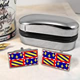 Burgundy Flag Mens Cufflinks with Chrome Gift Box